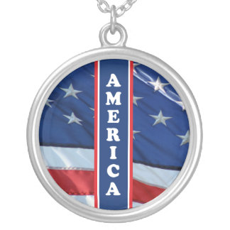 Patriotic Amercia Red White & Blue Silver Plated Necklace