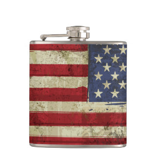 Patriotic America Grunge Flag Flask