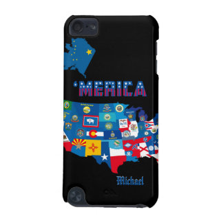 Patriotic America Map With States Flags iPod Cas iPod Touch 5G Covers