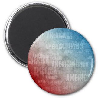 Patriotic America Text Graphic 6 Cm Round Magnet
