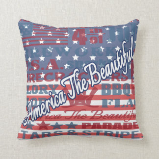 Patriotic America the Beautiful Independence Day Cushion