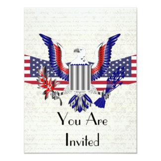 Patriotic American eagle & flag 11 Cm X 14 Cm Invitation Card