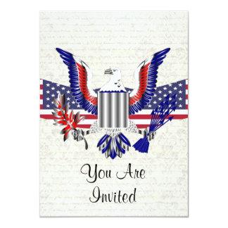 Patriotic American eagle & flag 11 Cm X 16 Cm Invitation Card