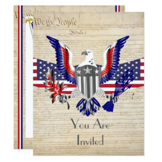 Patriotic American eagle, flag and constitution Card