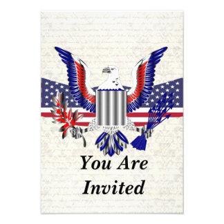 Patriotic American eagle flag Personalized Invite