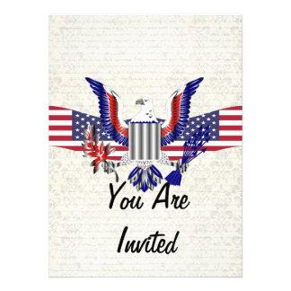 Patriotic American eagle flag Custom Invitation