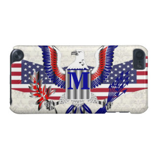 Patriotic American eagle personalized monogram iPod Touch (5th Generation) Cover