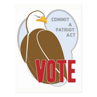Patriotic American Eagle Voting Postcard