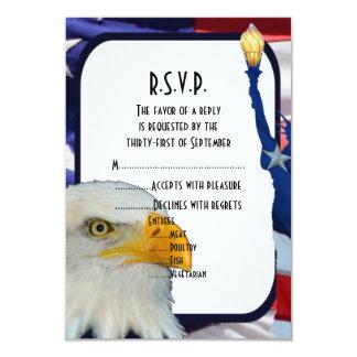 Patriotic American eagle wedding R.S.V.P 9 Cm X 13 Cm Invitation Card