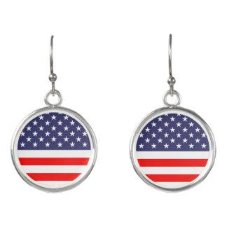 Patriotic American flag 4th of July drop earrings
