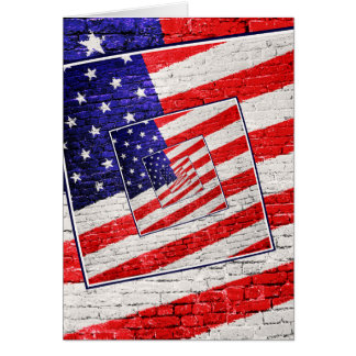 Patriotic American Flag Abstract Greeting Card