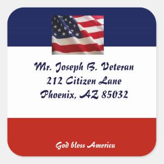 Patriotic American Flag address label Stickers