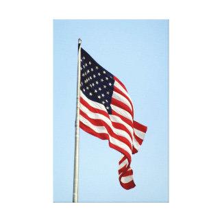Patriotic American Flag Blue Sky Canvas Print