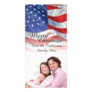 Patriotic American Flag Christmas Photo Cards