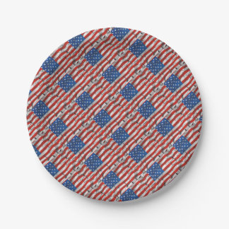 Patriotic American Flag Cracked Worn Paint 7 Inch Paper Plate