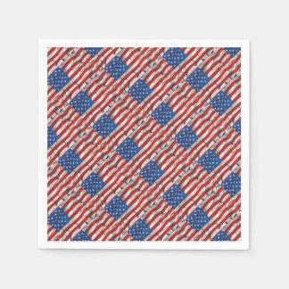 Patriotic American Flag Cracked Worn Paint Disposable Napkin