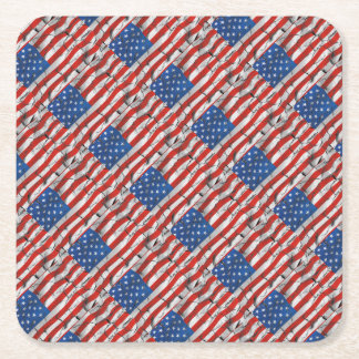 Patriotic American Flag Cracked Worn Paint Square Paper Coaster