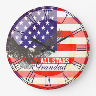 Patriotic American flag eagle grandad wall clock