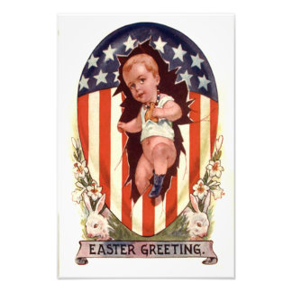Patriotic American Flag Easter Egg Bunny Photo Print