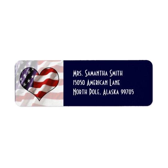 Patriotic American Flag Heart Address Label