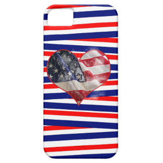 Patriotic American Flag Heart Red White Blue iPhone 5 Cases