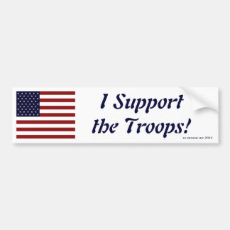 Patriotic American Flag I Support the Troops Bumper Sticker