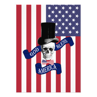 Patriotic American flag Custom Invites