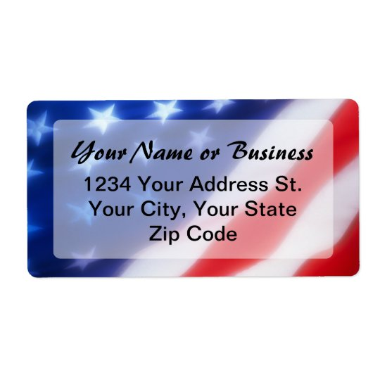 Patriotic American Flag Label
