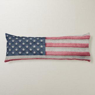 Patriotic American Flag Metal Design Body Pillow