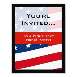 Patriotic American Flag Party Invitations, General 11 Cm X 14 Cm Invitation Card