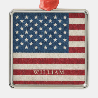 Patriotic American Flag Personalized Metal Ornament