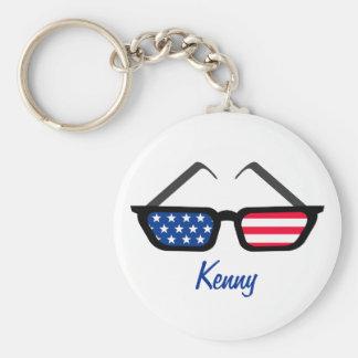 Patriotic American Flag Retro Sunglasses Key Ring