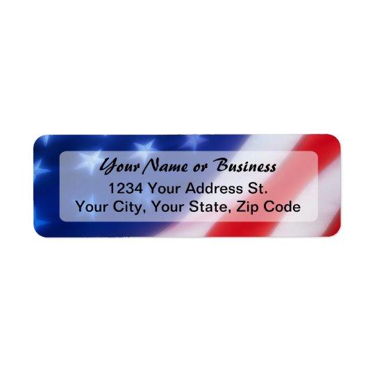 Patriotic American Flag Return Address Label
