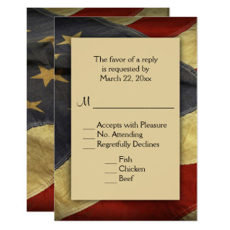 Patriotic American Flag RSVP with Menu Choices Card