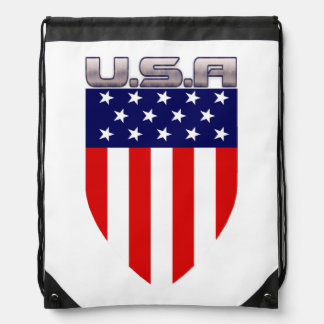 Patriotic American Flag Shield Drawstring Backpack