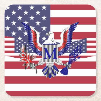 Patriotic American flag Square Paper Coaster
