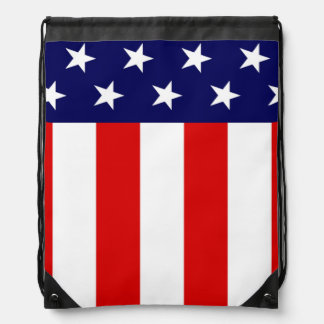 Patriotic American flag Stars and Stripes Drawstring Bag