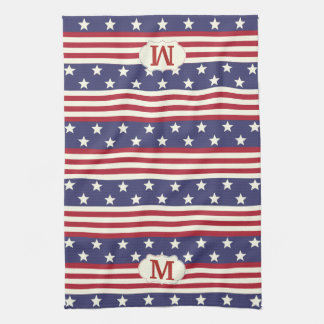 Patriotic American Flag Stars and Stripes Monogram Tea Towel