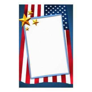 Patriotic American Flag Stationery