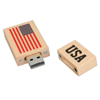 Patriotic American flag USB pendrive flash drive Wood USB 2.0 Flash Drive