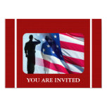 Patriotic American Flag with Veteran Soldier Custom Announcements