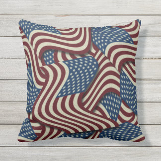 Patriotic American Flags Pattern Throw Pillow