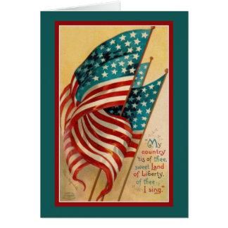 Patriotic American Flags Verse Card