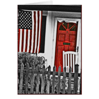 Patriotic American Front Porch Note Card