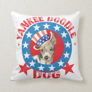 Patriotic American Hairless Terrier Cushion