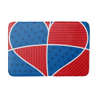 Patriotic American hearts Bath Mats