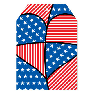 Patriotic American hearts Card