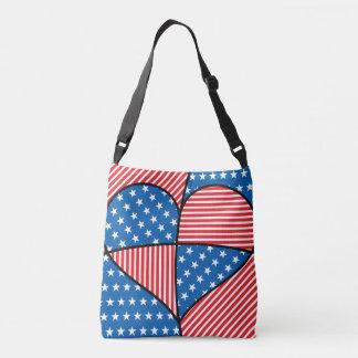 Patriotic American hearts Crossbody Bag