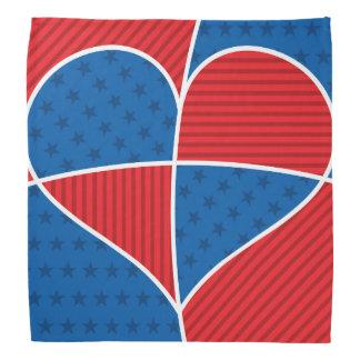 Patriotic American hearts Head Kerchief