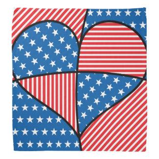Patriotic American hearts Head Kerchiefs